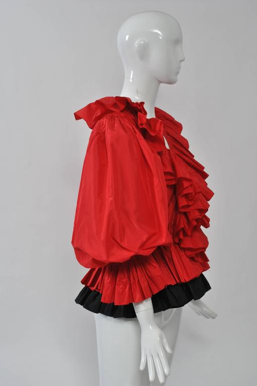 Red and Black Silk Ruffle Top 5