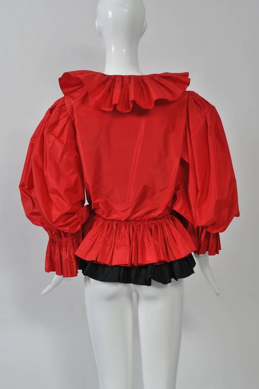 Red and Black Silk Ruffle Top 3