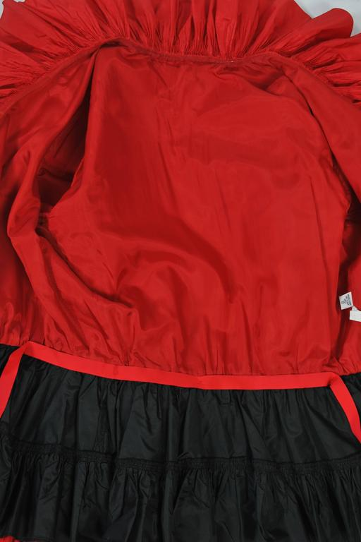Red and Black Silk Ruffle Top 6