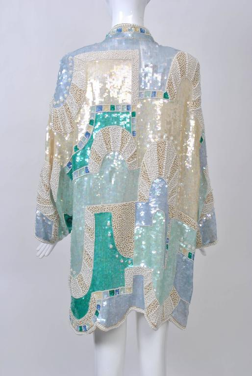 Pastel Beaded Evening Coat In Excellent Condition For Sale In Alford, MA