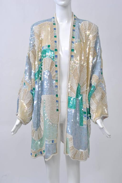 Pastel Beaded Evening Coat For Sale 3