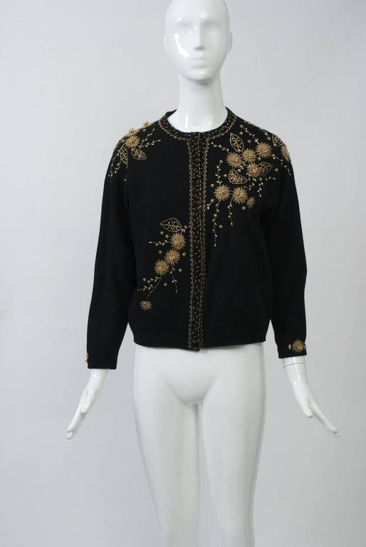 Black Cardigan with Gold Beading 2