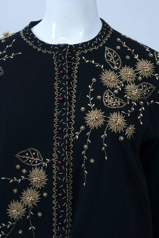 Black Cardigan with Gold Beading 6