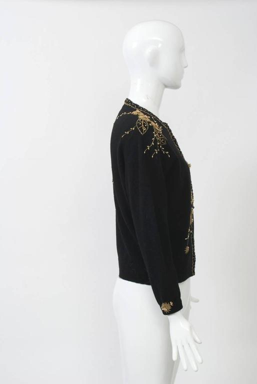 Black Cardigan with Gold Beading 3