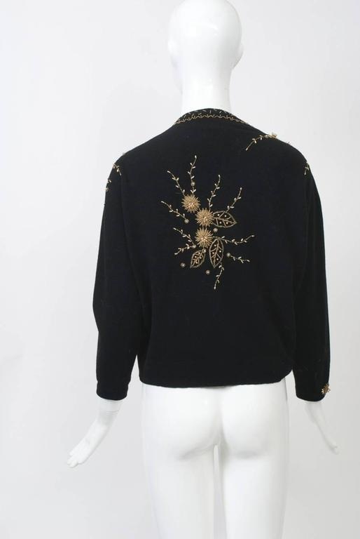 Black Cardigan with Gold Beading 4