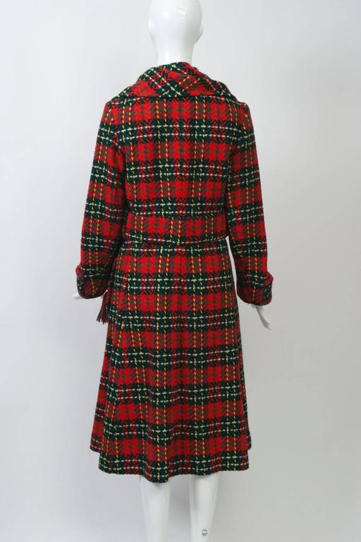 Red Plaid Coat with Scarf In Excellent Condition For Sale In Alford, MA