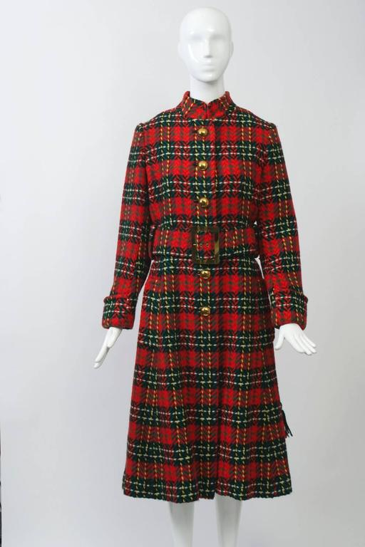 Women's Red Plaid Coat with Scarf For Sale