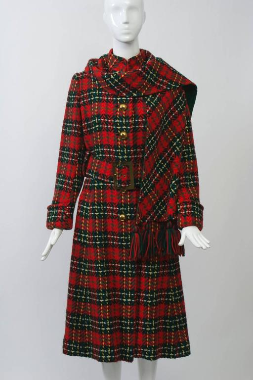 Red Plaid Coat with Scarf For Sale 1