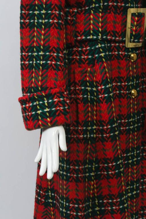 Red Plaid Coat with Scarf For Sale 2