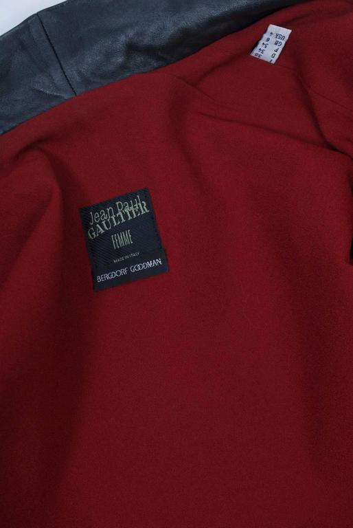 Gaultier Black Leather Coat For Sale 6