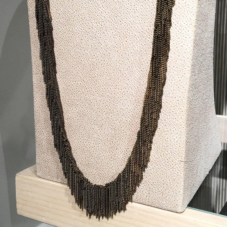 Multicolored Vermeil Chain Handmade Waterfall Fringe Necklace For Sale 1