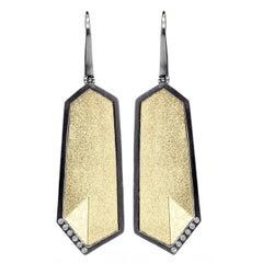 Elizabeth Garvin Fine Gem Link Diamond Gold Silver Drop Earrings