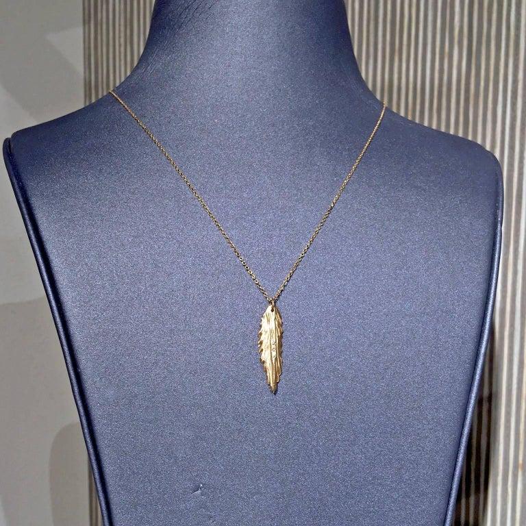 Modern White Diamond Matte Gold Fern Pendant Necklace For Sale