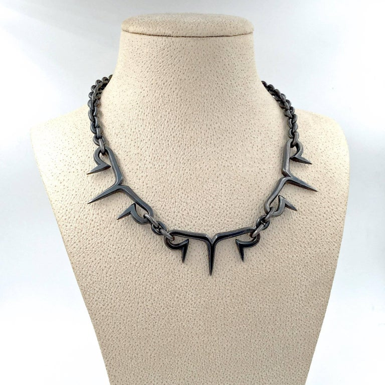 Spike Link Chain Necklace handmade in oxidized sterling silver by renowned jewelry designer and artist Pedro Boregaard. Stamped and hallmarked (see additional images).
