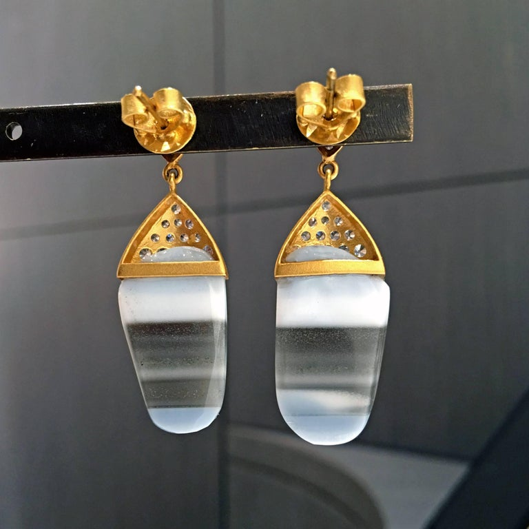 Artist One of a Kind Striped African Opal White Sapphire Gold Earrings For Sale
