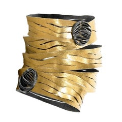 Reiko Ishiyama One of a Kind Gold Oxidized Silver Double Clasp Spiral Bracelet