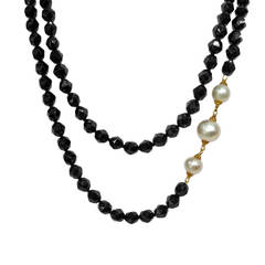 "One of a Kind 40"" Faceted Spinel White Pearl 22k Gold Necklace"
