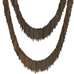 Multicolored Vermeil Chain Handmade Waterfall Fringe Necklace