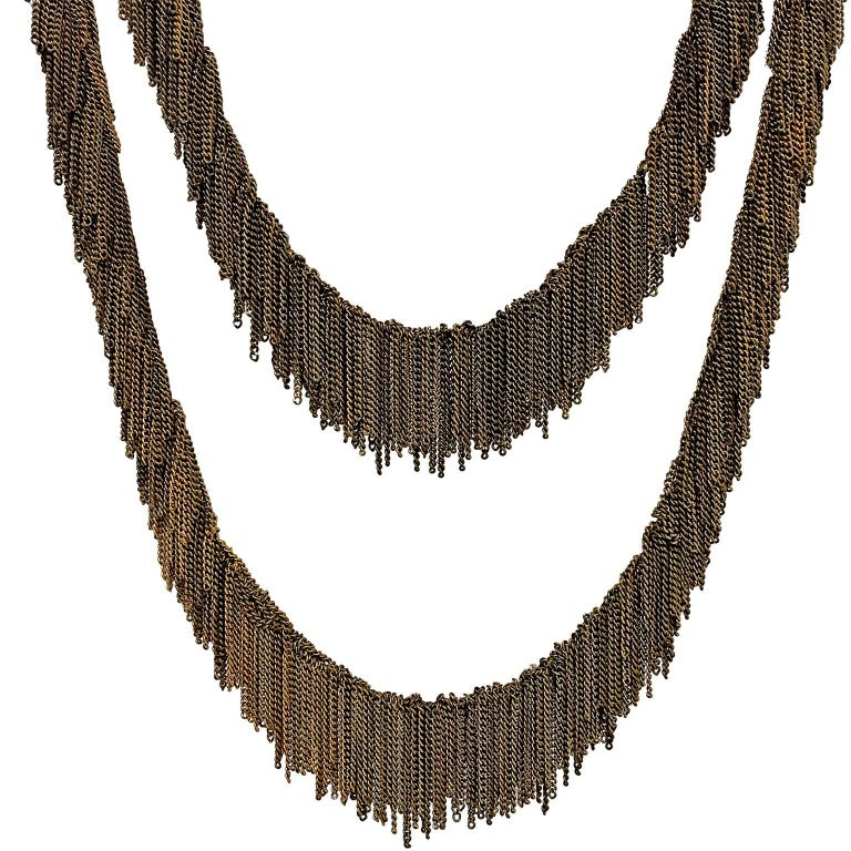 Multicolored Vermeil Chain Handmade Waterfall Fringe Necklace For Sale