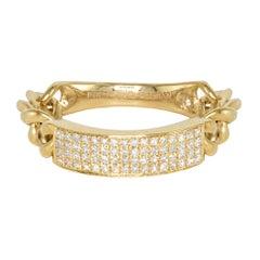 Curved Diamond Bar Flexible Chain Handmade Gold Ring