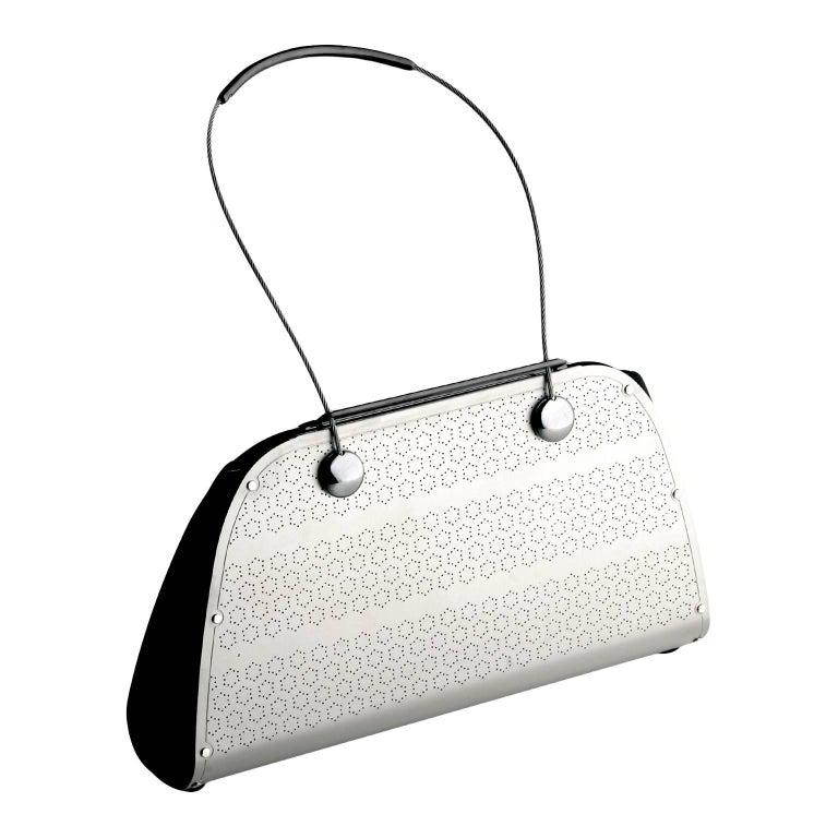 92bfeb7ee8fe Wendy Stevens Handmade Black Leather Stainless Steel Stella Bag For Sale at  1stdibs