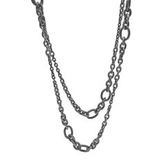 Liza Beth Signature Long Graduating Stainless Steel Chain Link Necklace