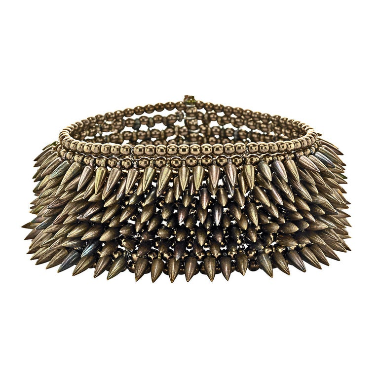 Intricate Eight Row Mixed Tone Bullet Bronze Bead Flexible Cuff
