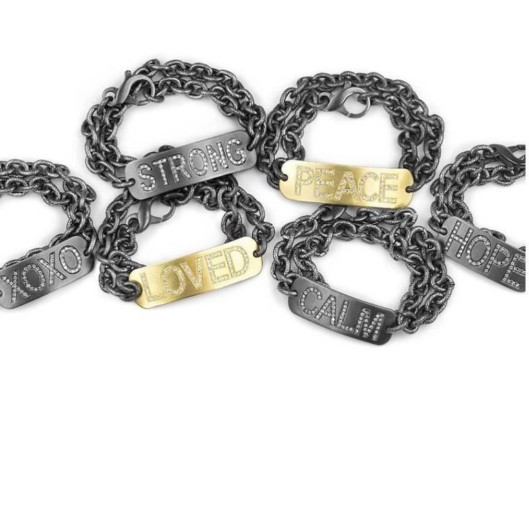 Personalized Peace Bracelet Handmade In Matte Finished Oxidized Sterling Silver With Single Cut E