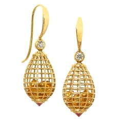 Roule and Co. Honey Citrine Inverted Ruby Diamond Gold Shaker Drop Earrings