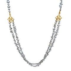 Denise Betesh Blue Silver Keshi Pearl Double Strand Diamond Gold Necklace