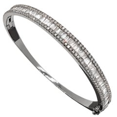 Tapered Baguette and Pave Diamond Hinged Silver Bangle Bracelet
