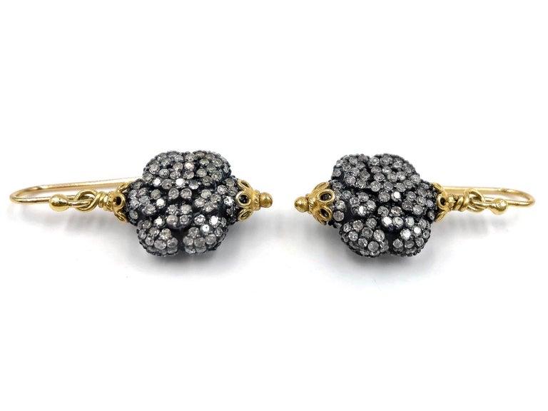 Artist Fern Freeman Double-Sided Diamond Yellow Gold Dangle Drop Earrings For Sale