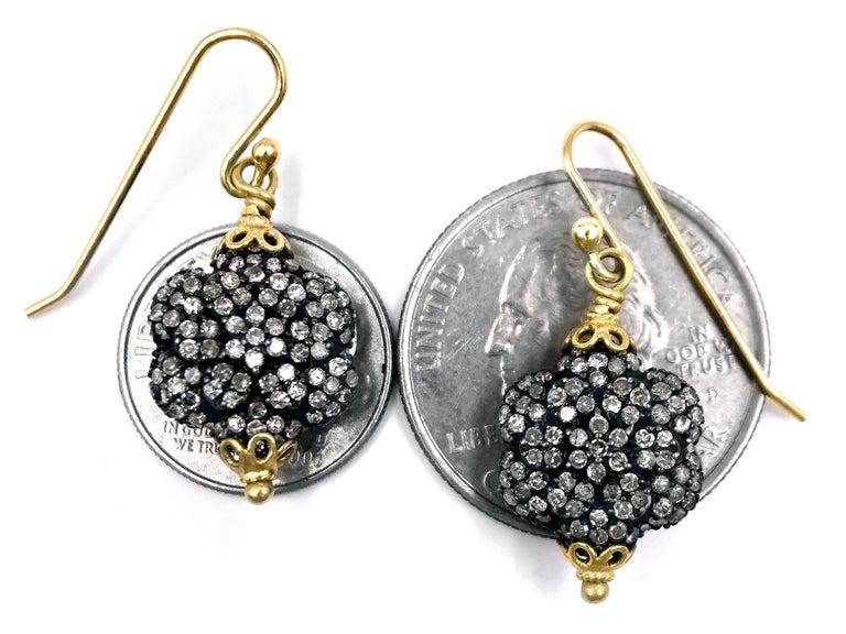 Round Cut Fern Freeman Double-Sided Diamond Yellow Gold Dangle Drop Earrings For Sale