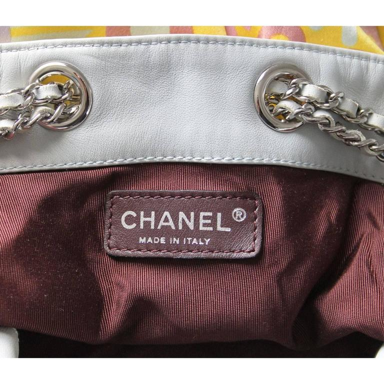 Chanel Limited Edition Pastel Multicolor Satin Drawstring Tassel Bag Purse For Sale 4