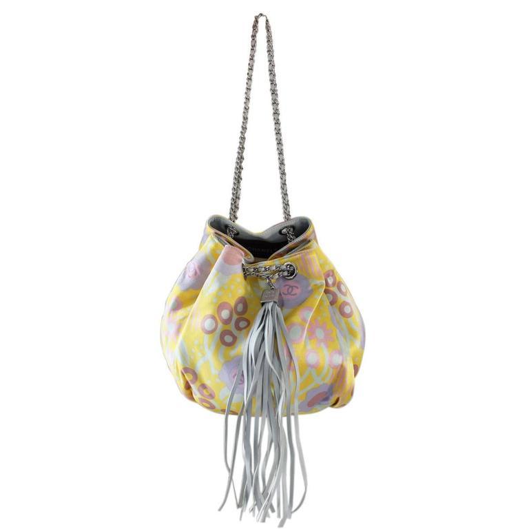 Brown Chanel Limited Edition Pastel Multicolor Satin Drawstring Tassel Bag Purse For Sale