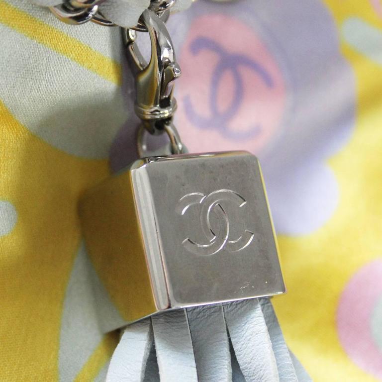 Chanel Limited Edition Pastel Multicolor Satin Drawstring Tassel Bag Purse In Good Condition For Sale In Boca Raton, FL