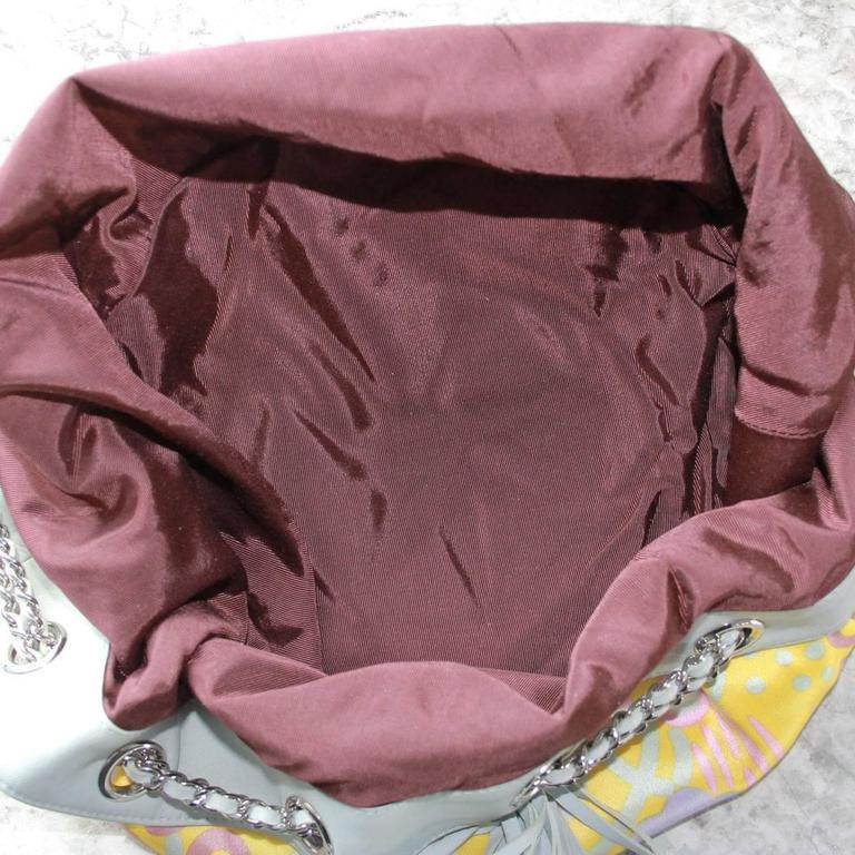 Chanel Limited Edition Pastel Multicolor Satin Drawstring Tassel Bag Purse For Sale 2