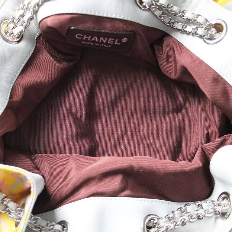 Chanel Limited Edition Pastel Multicolor Satin Drawstring Tassel Bag Purse For Sale 3