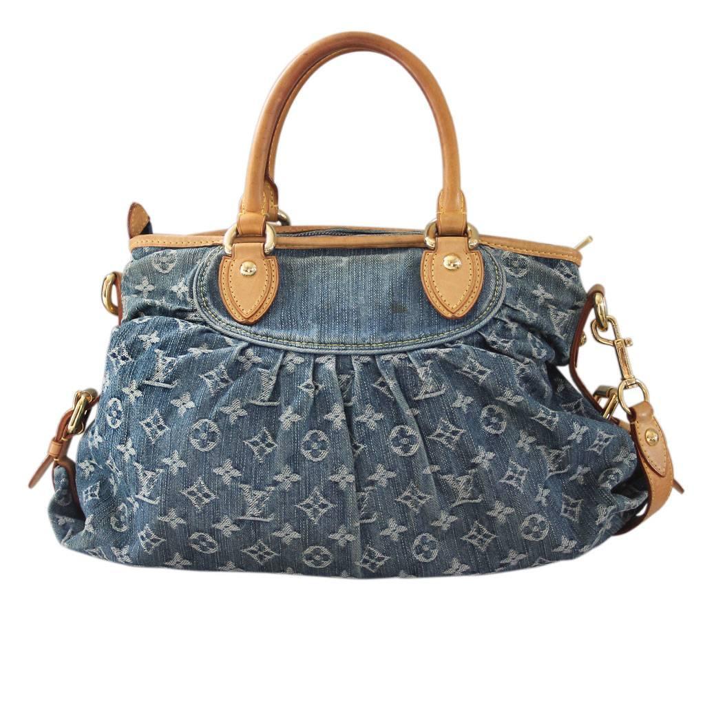 414f7aac8a86 LOUIS VUITTON Denim Pleaty Blue 82257. Louis Vuitton Denim Neo Cabby MM  Handbag in Dust Bag at 1stdibs