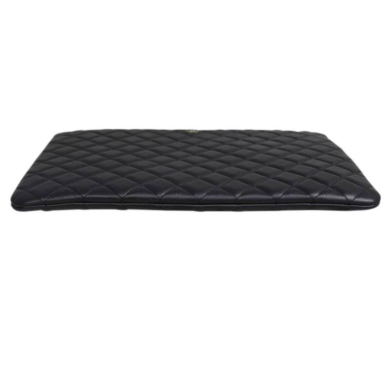 Women's or Men's Chanel Black Quilted Lambskin Envelope Clutch No. 20 iPad Case For Sale