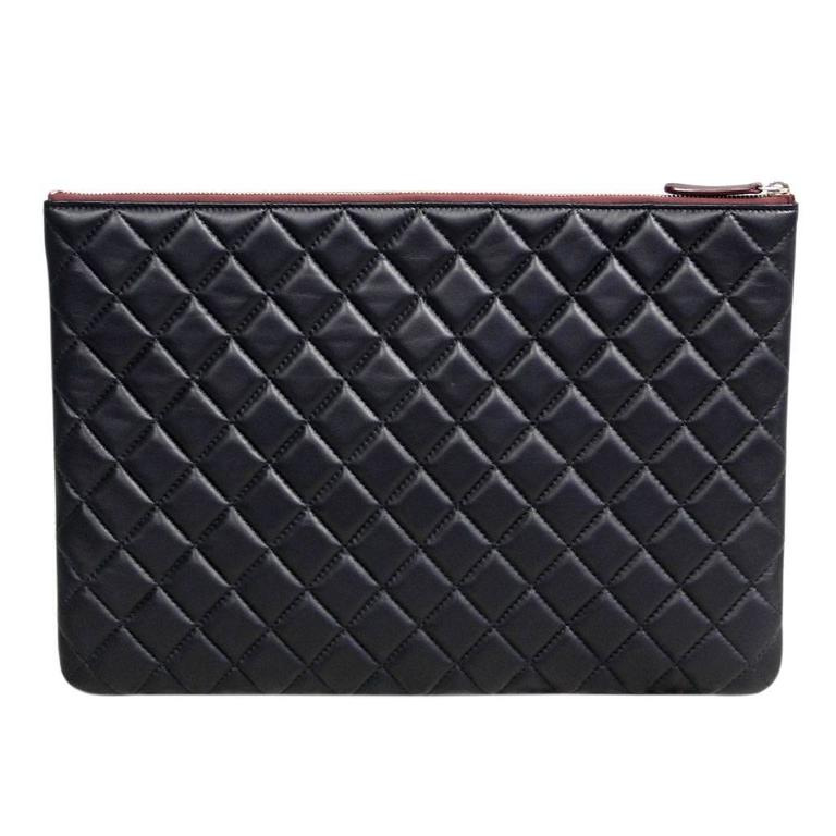Chanel Black Quilted Lambskin Envelope Clutch No. 20 iPad Case 2