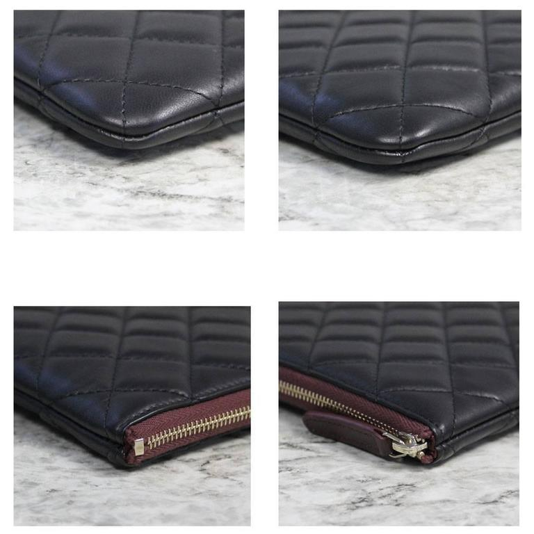 Chanel Black Quilted Lambskin Envelope Clutch No. 20 iPad Case For Sale 1