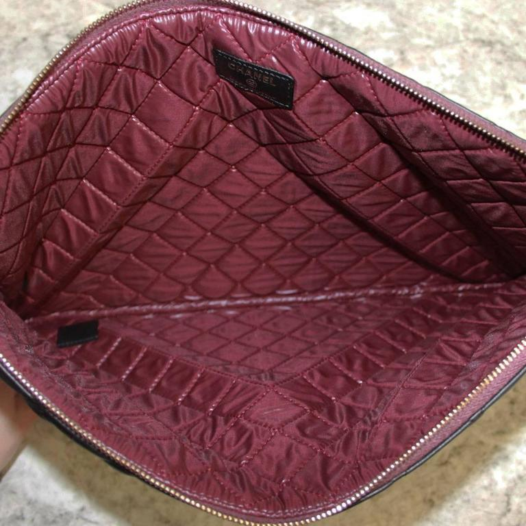 Chanel Black Quilted Lambskin Envelope Clutch No. 20 iPad Case For Sale 3