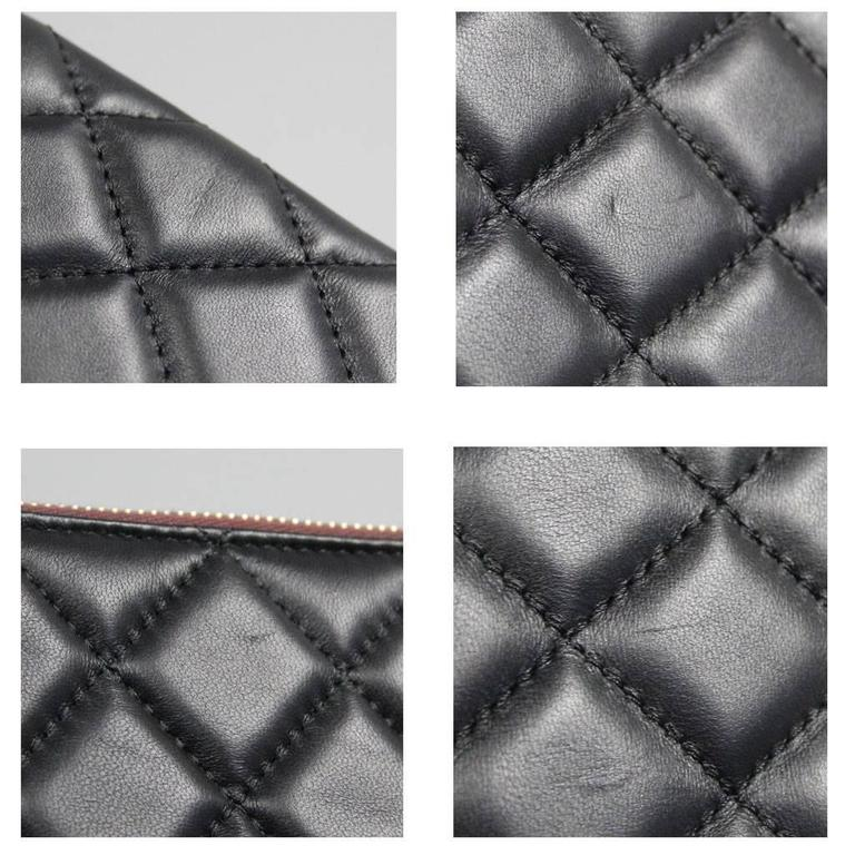 Chanel Black Quilted Lambskin Envelope Clutch No. 20 iPad Case For Sale 2