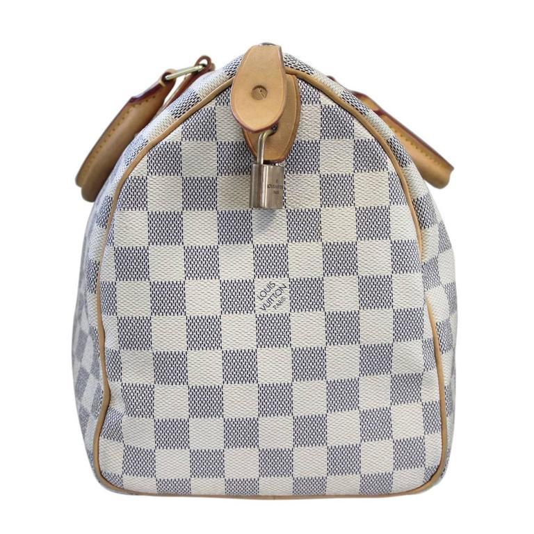 4f4b7e572724 Gray Louis Vuitton Damier Azur Speedy 30 Handbag in Dust Bag For Sale