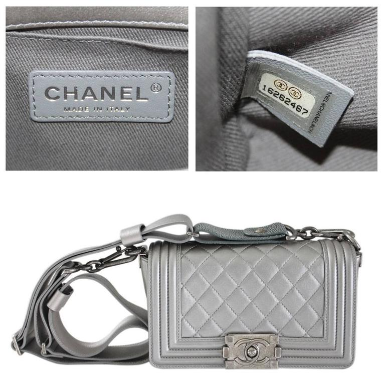 Chanel Silver Boy Bag Quilted Leather Stingray Strap SHW Flap Bag For Sale 6