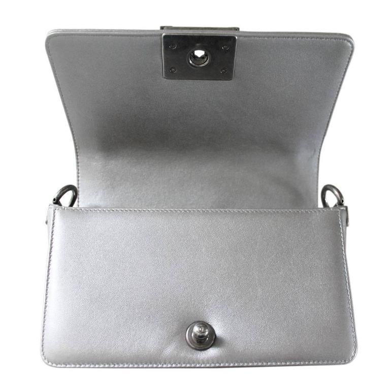 Chanel Silver Boy Bag Quilted Leather Stingray Strap SHW Flap Bag 4