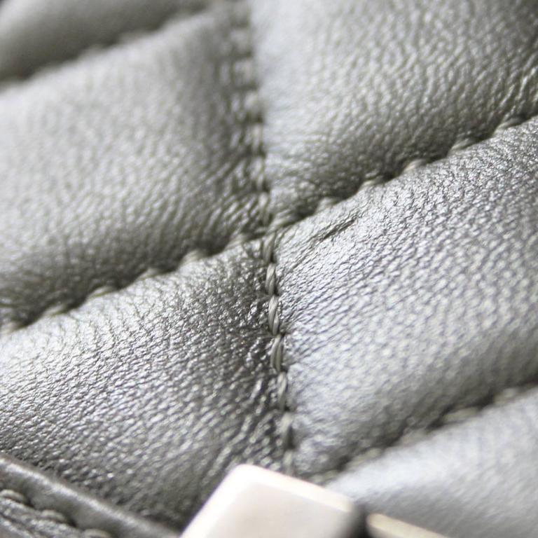 Chanel Silver Boy Bag Quilted Leather Stingray Strap SHW Flap Bag 6
