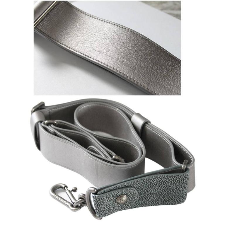 Chanel Silver Boy Bag Quilted Leather Stingray Strap SHW Flap Bag For Sale 5