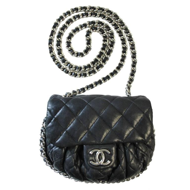 82442d705d76 Chanel Black Washed Lambskin SHW Chain Around Handbag No. 14 Purse For Sale